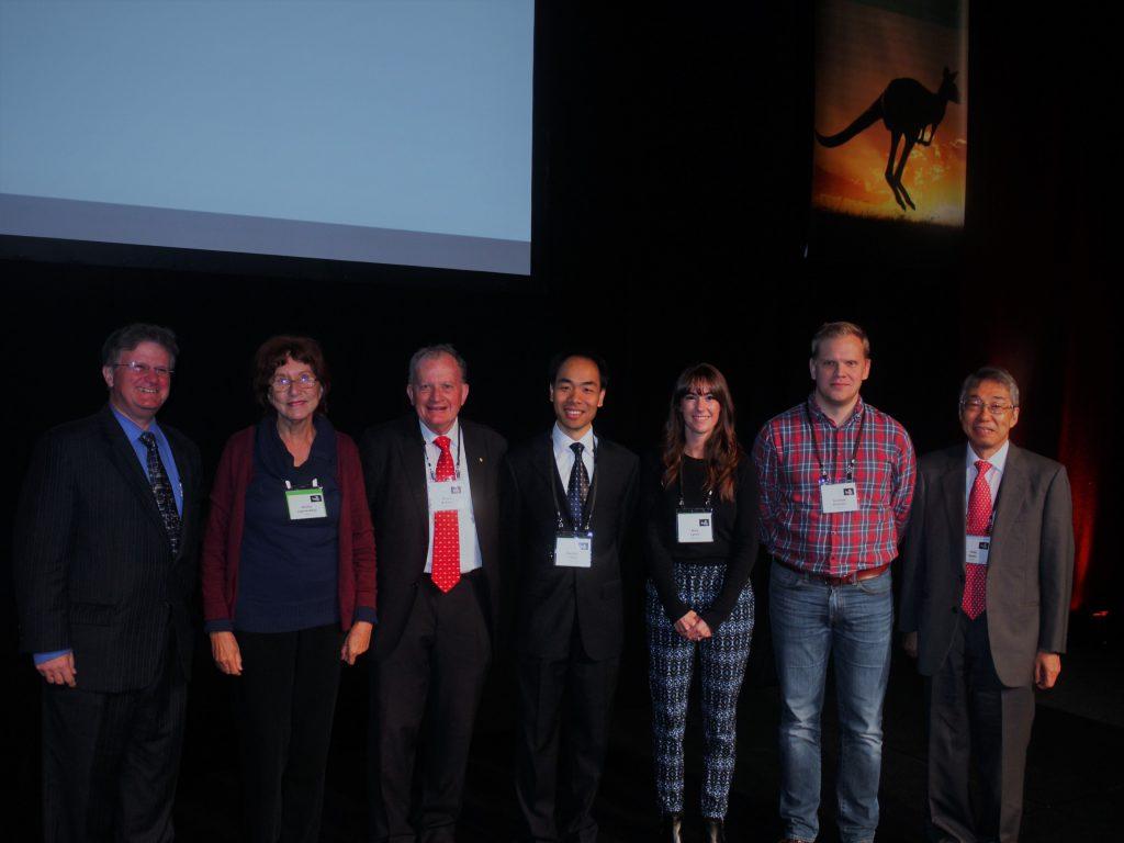 From Left: Anthony Thomas (chair of INPC2016), Alinka Lépine-Szily (chair C12), Bruce McKellar (president IUPAP), Haozhao Liang, Kara M. Lynch, Andres Ekström, Hideyuki Sakai (past chair C12)