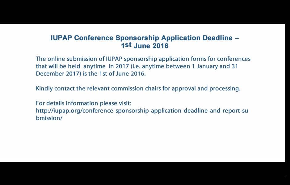 IUPAP Conference Sponsorship Application Deadline – 1st June 2016