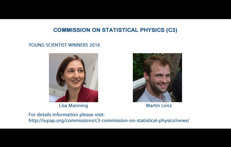COMMISSION ON STATISTICAL PHYSICS (C3) - YOUNG SCIENTIST WINNERS 2016