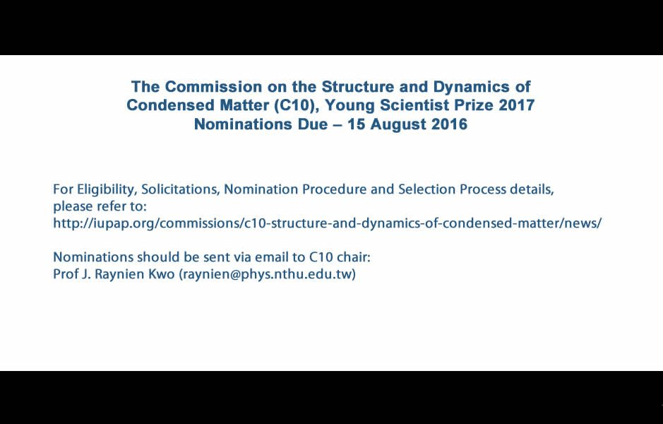 C10 Young Scientist Prize 2017 Nominations Due – 15 August 2016