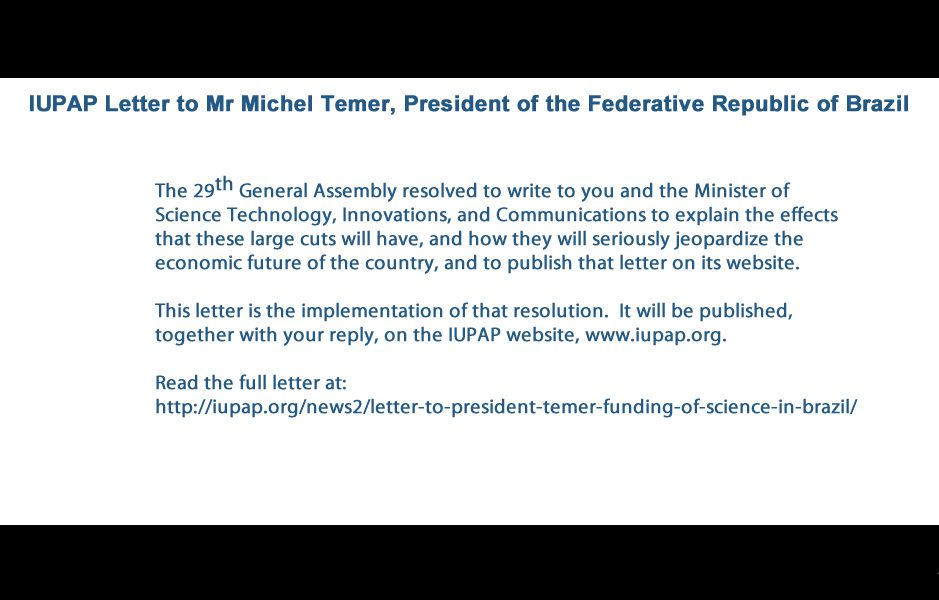 IUPAP Letter to Mr Michel Temer, President of the Federative Republic of Brazil