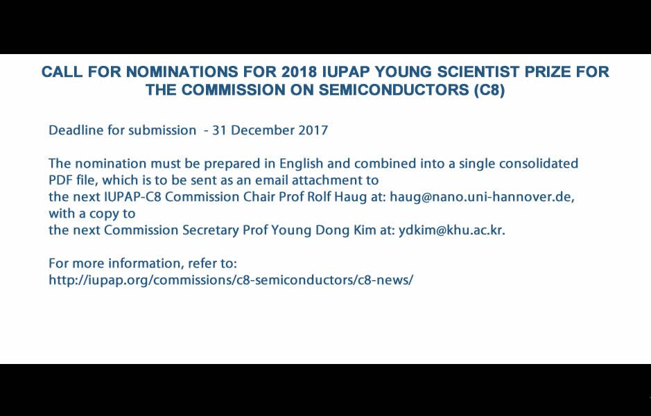 CALL FOR NOMINATIONS FOR 2018 IUPAP YOUNG SCIENTIST PRIZE FOR THE COMMISSION ON SEMICONDUCTORS (C8)