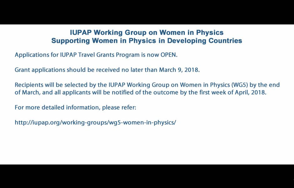IUPAP Working Group on Women in Physics Supporting Women in Physics in Developing Countries