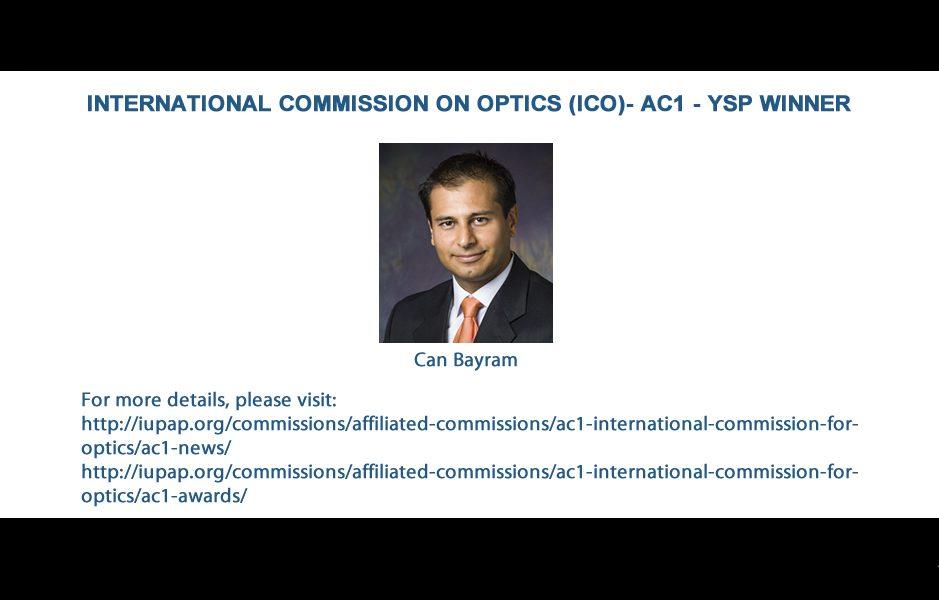 INTERNATIONAL COMMISSION ON OPTICS (ICO)- AC1 - YSP WINNER