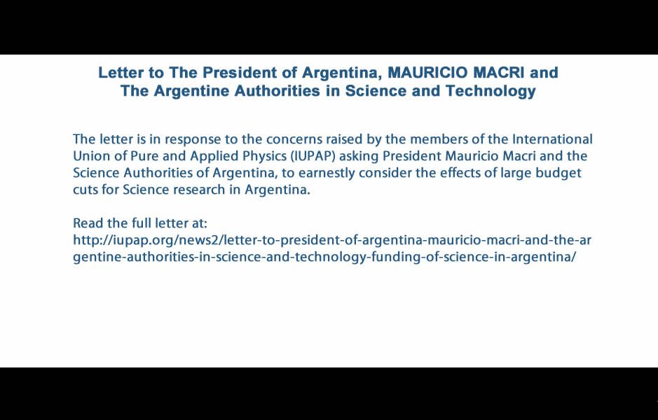 Letter to The President of Argentina, MAURICIO MACRI and The Argentine Authorities in Science and Technology