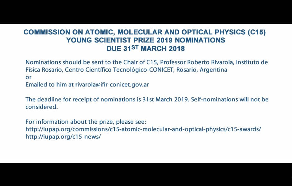 COMMISSION ON ATOMIC, MOLECULAR AND OPTICAL PHYSICS (C15)