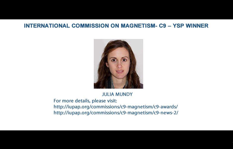INTERNATIONAL COMMISSION ON MAGNETISM- C9 – YSP WINNER